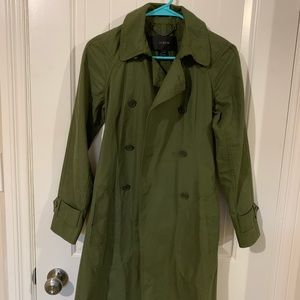 J. Crew Army Green Long Trench